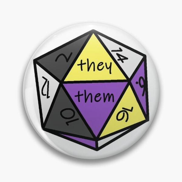 Pronoun Check Nonbinary Pride D20 They/Them Pin