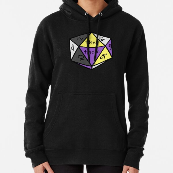 Pronoun Check Nonbinary Pride D20 They/Them Pullover Hoodie