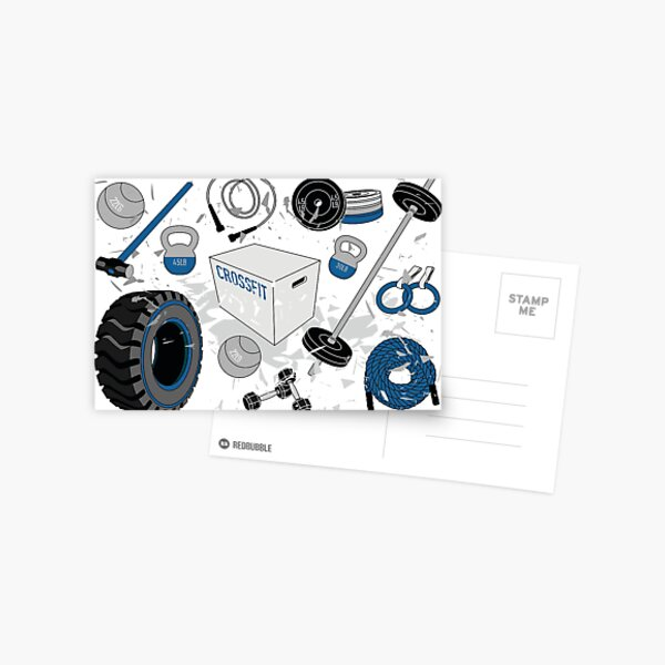 Crossfit Equipment Items Blue Postcard