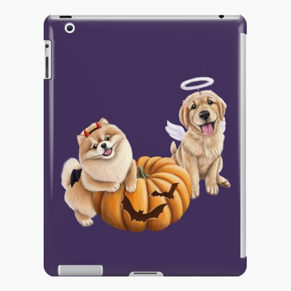 Halloween puppies in costumes with a pumpkin iPad Snap Case