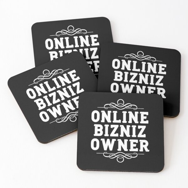 Online Business Owner White Text Coasters (Set of 4)