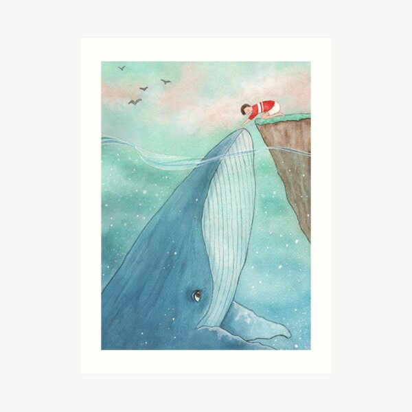 Whale and boy Art Print
