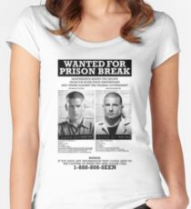 Wanted For Prison Break Women's Fitted Scoop T-Shirt