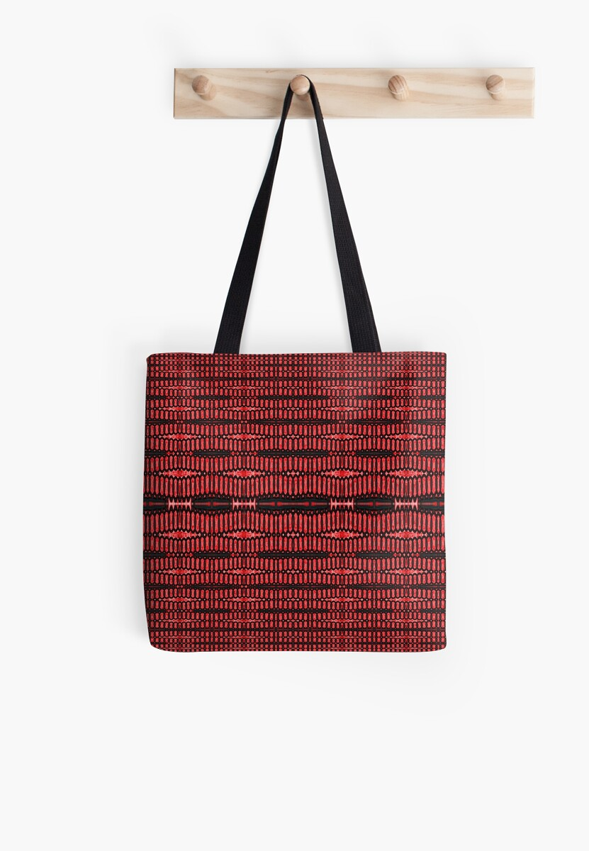Modern Red Black Tech Ovals Pattern  by donnagrayson