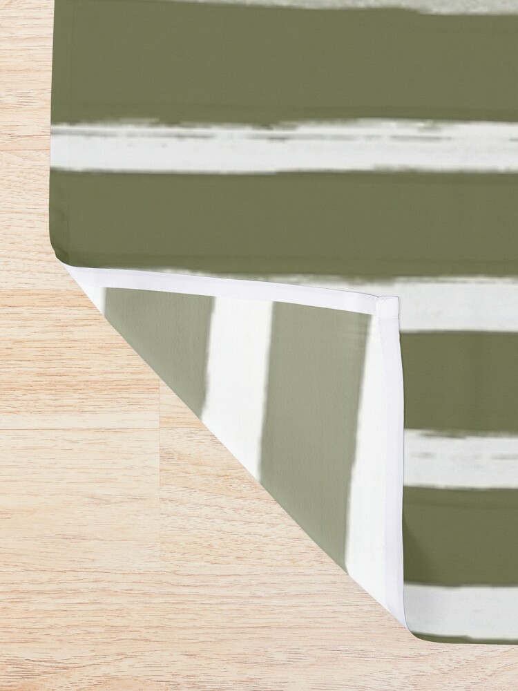 Alternate view of Olive Green x White Stripes Shower Curtain