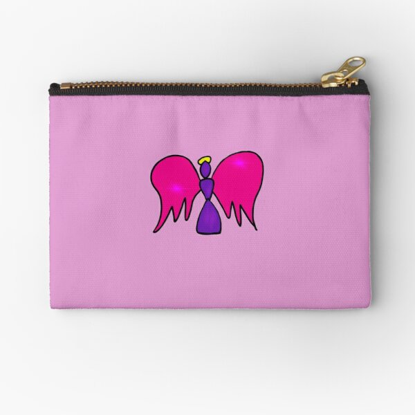 Pink and Purple Stained Glass Angel  Zipper Pouch