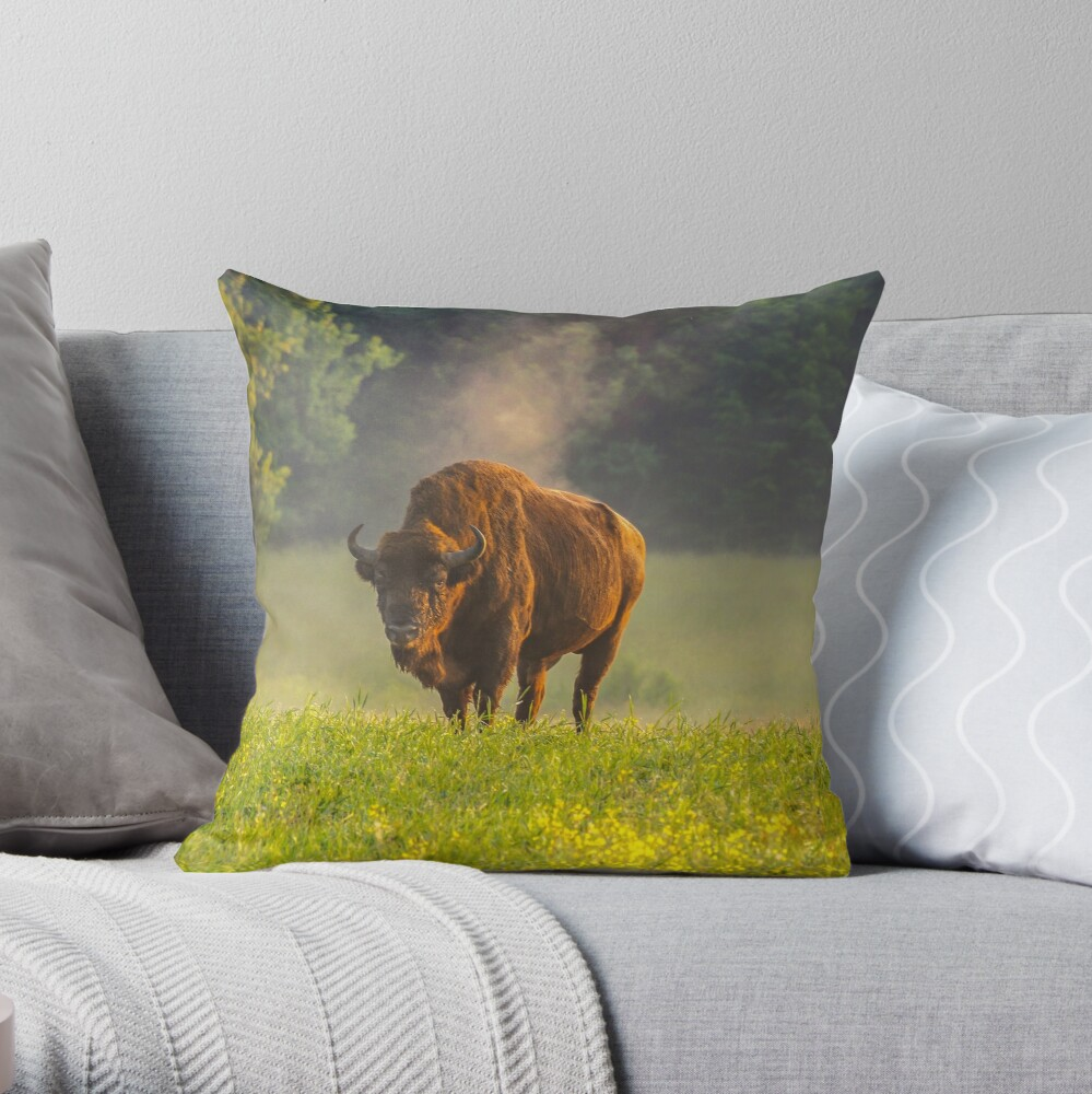 Wisent or european bison steaming in the morning light Throw Pillow