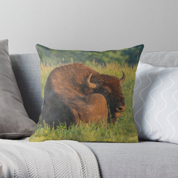 Laughing european bison, also known as wisent Throw Pillow