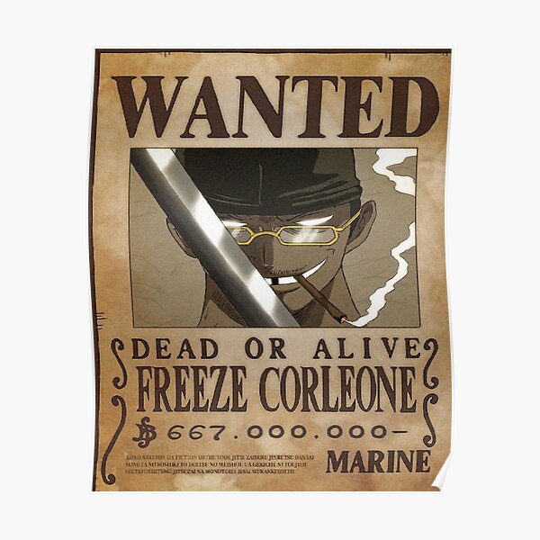 freeze corleone one piece caricature Poster
