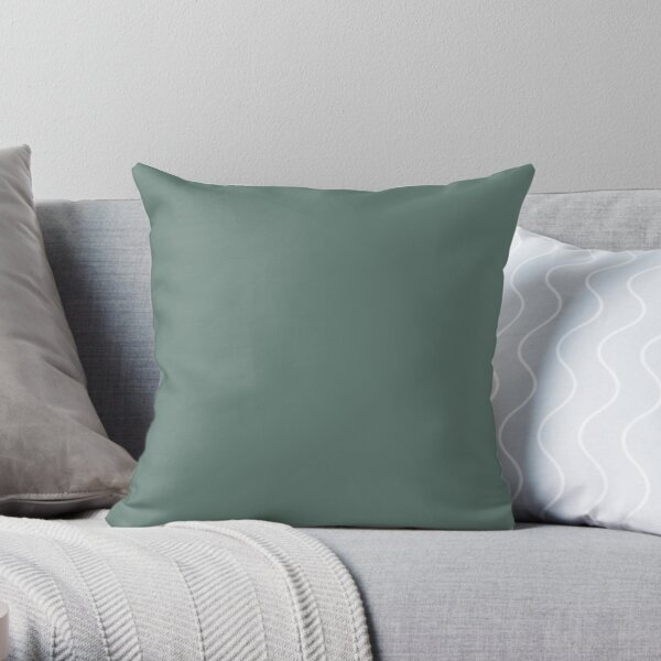 Softened Forest Green Solid Color Pairs To PPG 2021 Trending Hue Salal Leaves PPG1137-6 Throw Pillow
