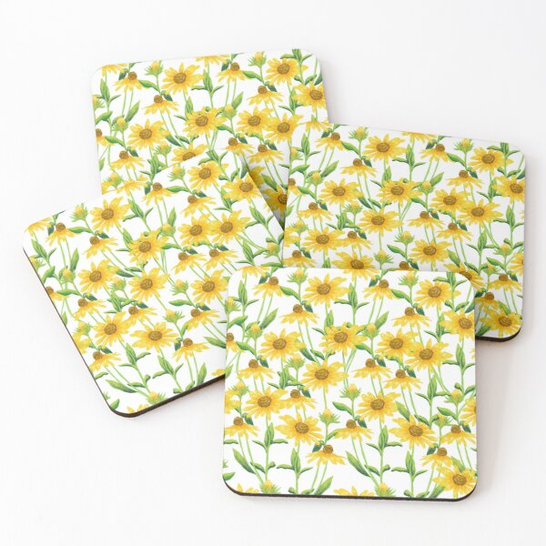 Sunflower floral print Coasters (Set of 4)