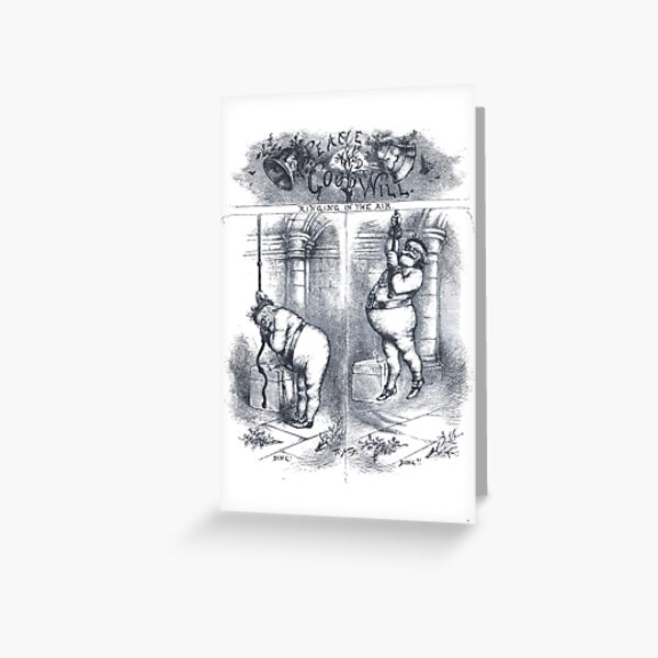 "Vintage Christmas Etching ""Ringing In The Air"" by Thomas Nast Greeting Card"