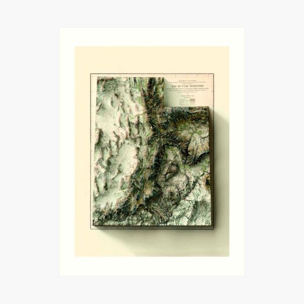 1878 Utah Relief Map digitally-rendered Art Print