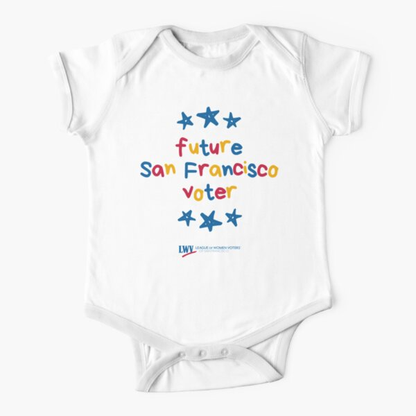 Future San Francisco Voter for babies and kids - primary colors text Short Sleeve Baby One-Piece