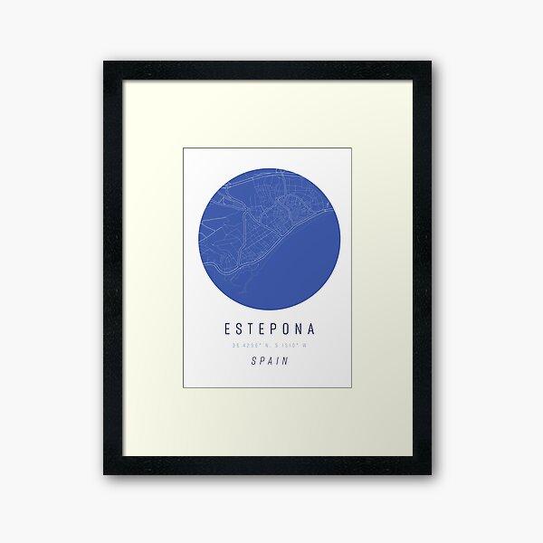 Estepona Spain Map Artwork Print Framed Art Print