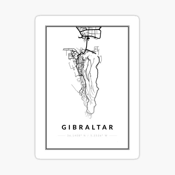 Gibraltar Map Artwork in Black & White with Coordinates and Border Sticker
