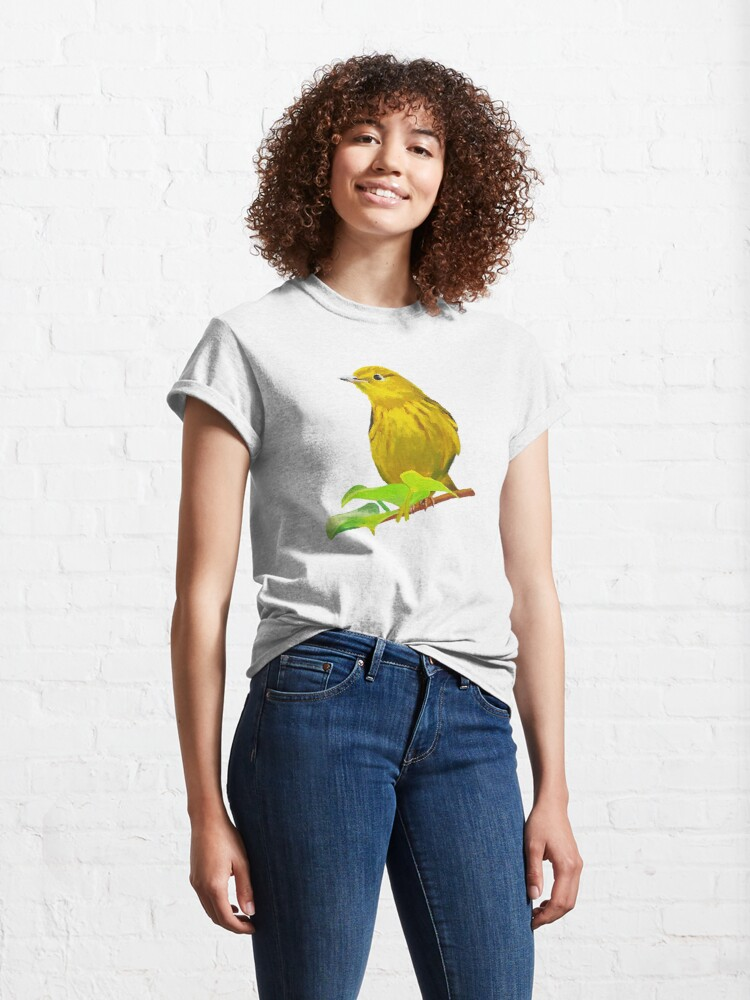 Alternate view of Yellow Warbler bird painting (no background) Classic T-Shirt