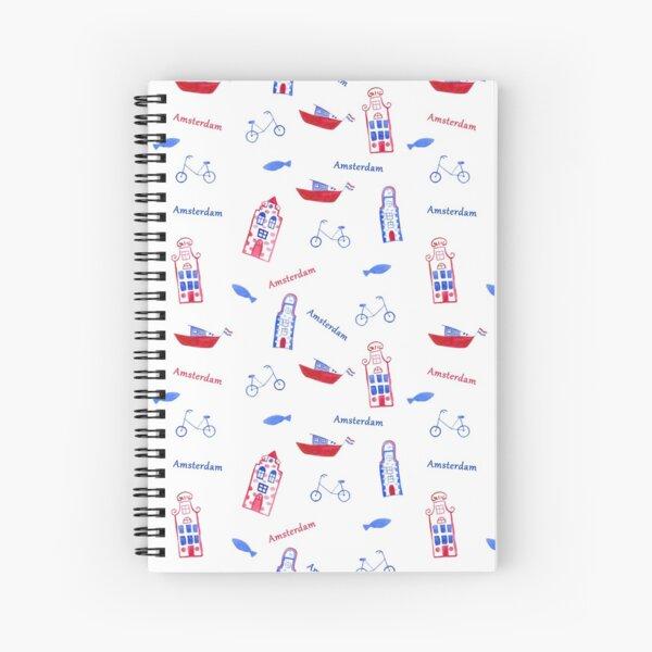 stylized watercolor pattern Amsterdam Spiral Notebook