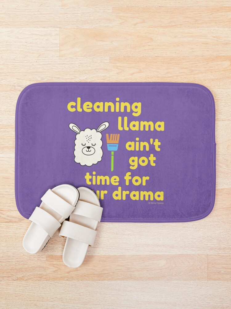 Alternate view of Cleaning Llama, Cleaning Crew Humor, Busy Mom Housework Bath Mat