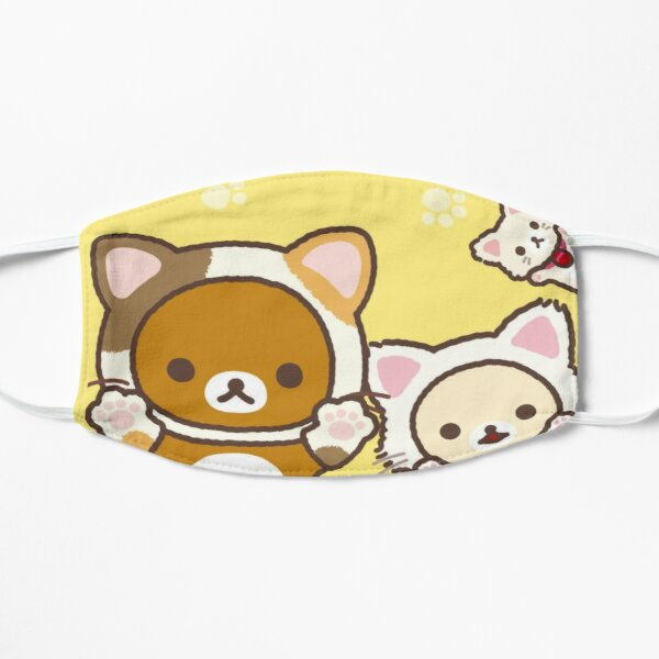 """kitty rilakkuma and friends """"it's time to relax with cute cats"""" Flat Mask"""