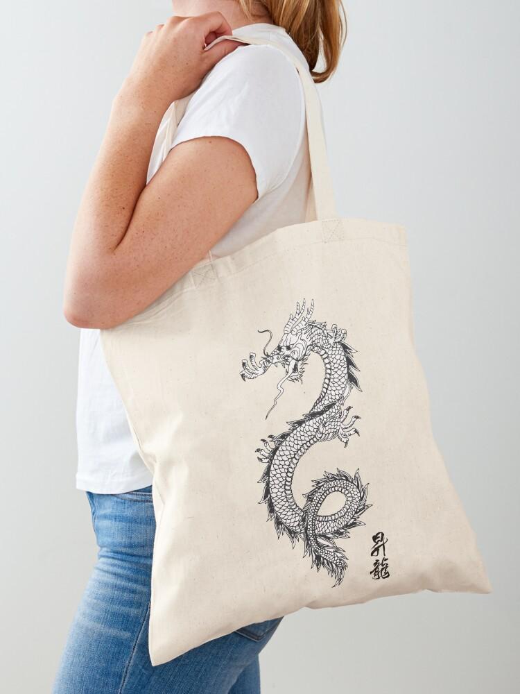 Mini Tote Bag Japanese Dragon material