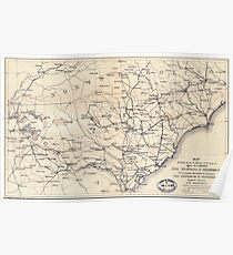 Civil War Maps 1055 Map showing route of marches of the army of Genl W T Sherman from Atlanta Ga to Goldsboro NC to accompany the report of operations from Savannah Ga to Goldsboro NC Poster