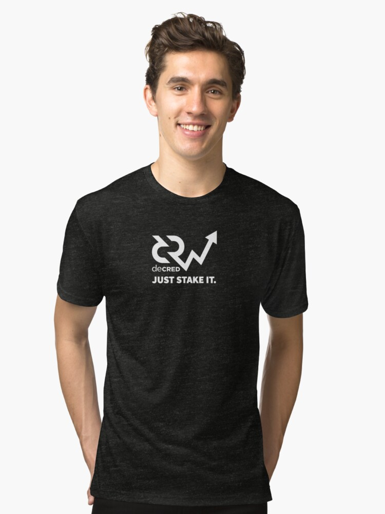 Alternate view of Decred just stake it v1 Tri-blend T-Shirt