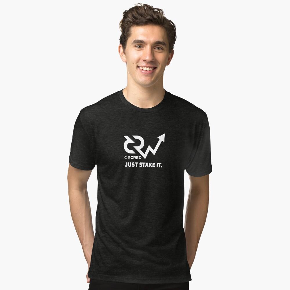 Decred just stake it ™ v1 'Design timestamped by https://timestamp.decred.org/' Tri-blend T-Shirt