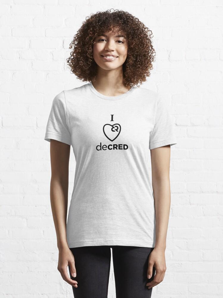 Alternate view of I love Decred ™ v2 'Design timestamped by https://timestamp.decred.org/' Essential T-Shirt