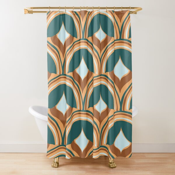 Abstract 1970s Flower Shower Curtain