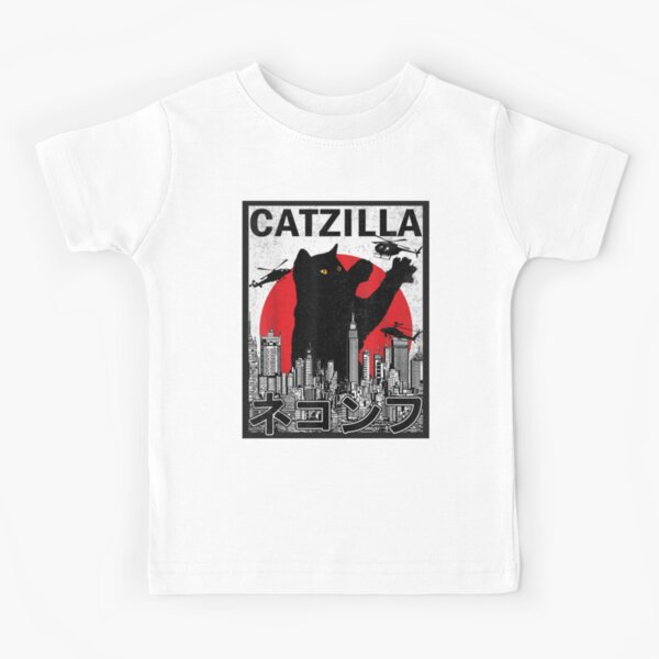 Catzilla Japanese Vintage Sunset Kids T-Shirt