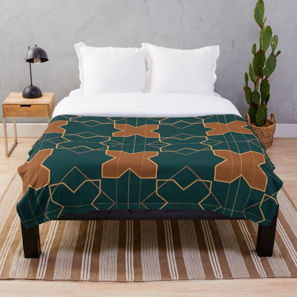 Geometric Sunset Moroccan Tiles Throw Blanket