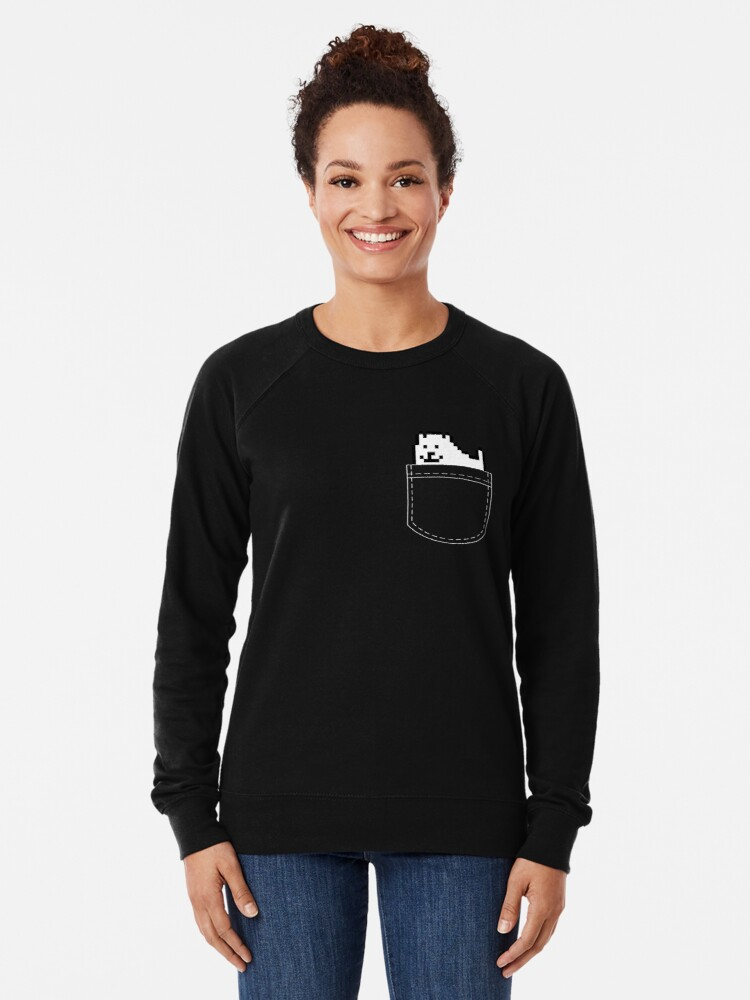 Alternate view of Undertale Dog Pocket Tee Lightweight Sweatshirt