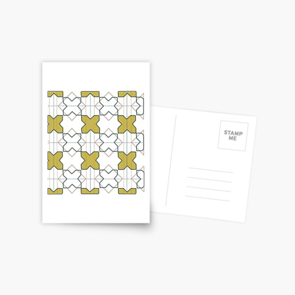 White and Yellow Geometric Moroccan Tile Postcard