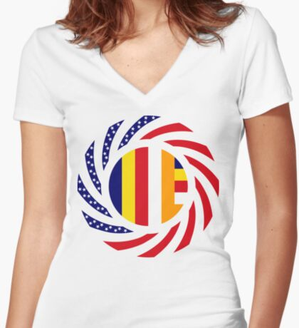 Buddhist Murican Patriot Flag Series Women's Fitted V-Neck T-Shirt