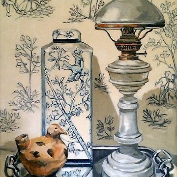 Still life with ginger jar and lamp, on toile. 2012Ⓒ Oil on canvas by emgolding
