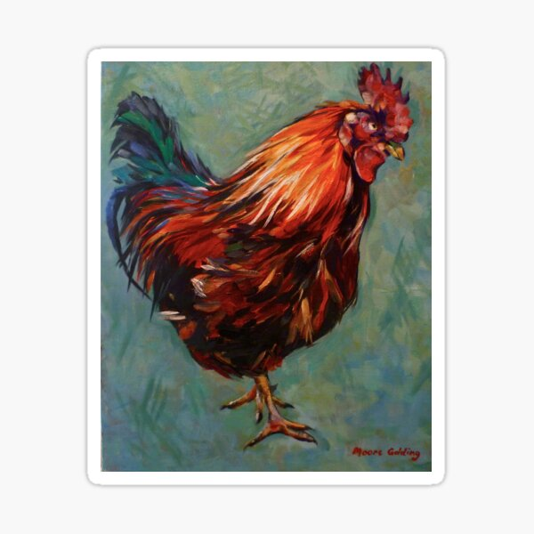 Brown rooster Isle of Aran. 2012Ⓒ Oil on canvas 51x41cm  Sticker