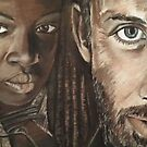 The Walking Dead- Michonne and Rick by Rayven Collins