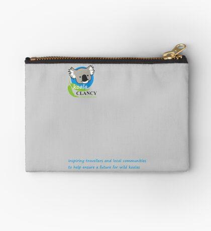 Koala Clancy Foundation - blue text Zipper Pouch