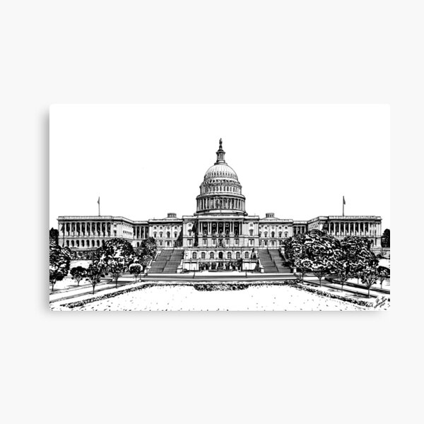 UNITED STATES CAPITOL (west front) - INK PAINTING Canvas Print