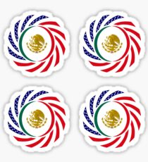 Mexican American Multinational Patriot Flag Series Sticker