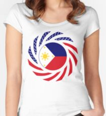 Filipino American Multinational Patriot Flag Series 1.0 Women's Fitted Scoop T-Shirt