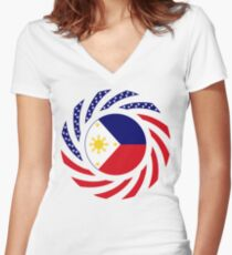 Filipino American Multinational Patriot Flag Series 1.0 Women's Fitted V-Neck T-Shirt