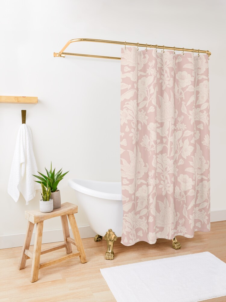 Alternate view of Vintage bubble gum pink botanical pattern Shower Curtain