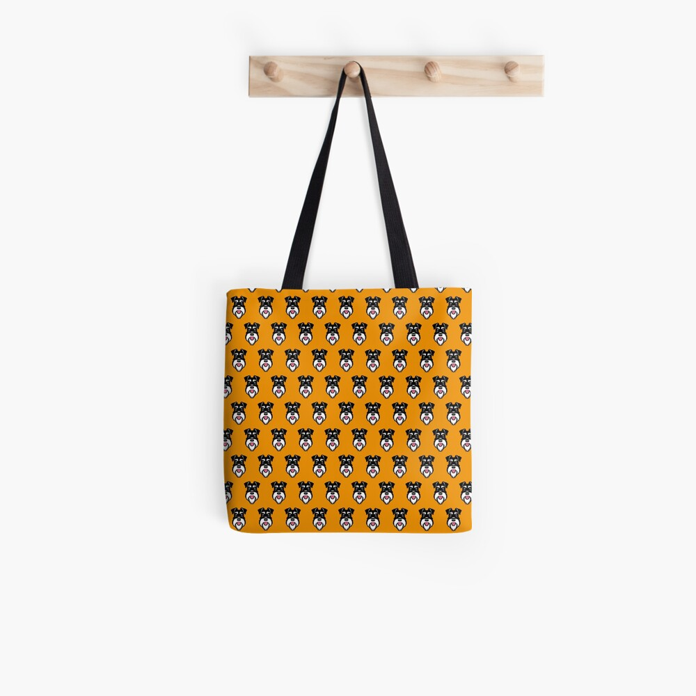 Silver & Black schnauzer pattern on orange background Tote Bag