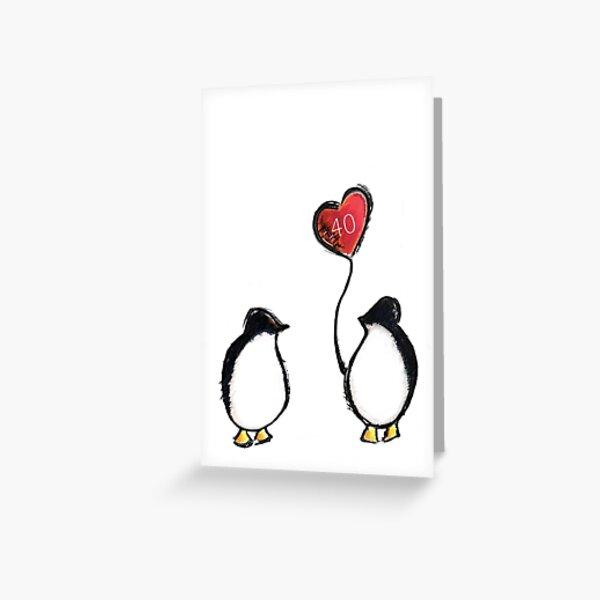 40 aniversario de bodas rubí pingüino Tarjetas de felicitación