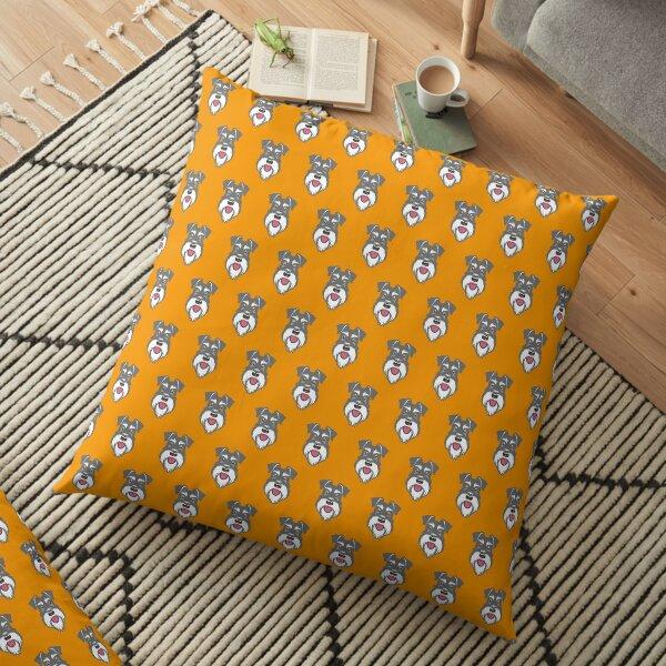 Salt & Pepper schnauzer pattern on orange background Floor Pillow