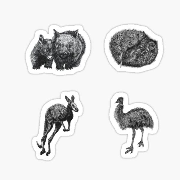 Land 4 - Wombat, Echidna, Kangaroo and Emu x 4  Sticker