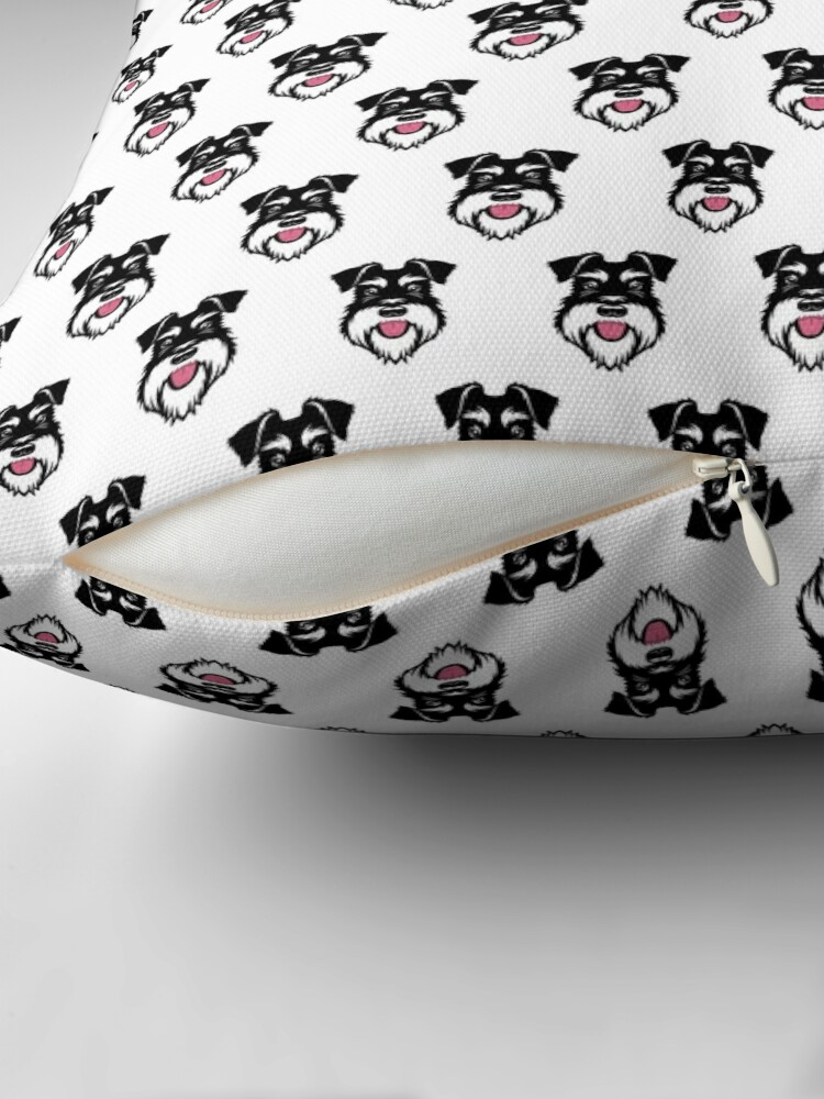 Alternate view of Silver & Black schnauzer repeat pattern Throw Pillow