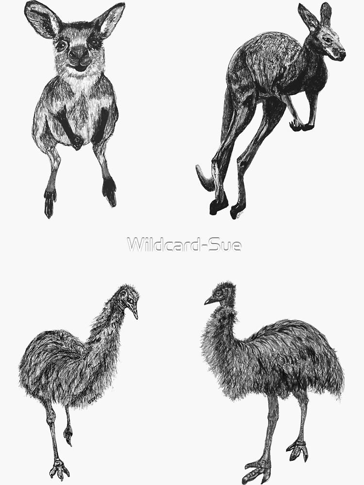 Land 5 -  Kangaroos and Emus x 4  by Wildcard-Sue